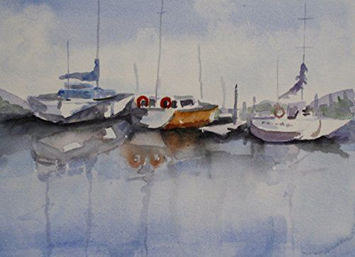 Watercolor Painting of Boats on the Water. Original watercolor painting 9x12 inches. Painting comes in an 11x14 inch white mat. It DOES NOT come framed.