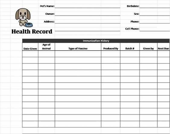 Pet health record template health pinterest pet for Dog health record template