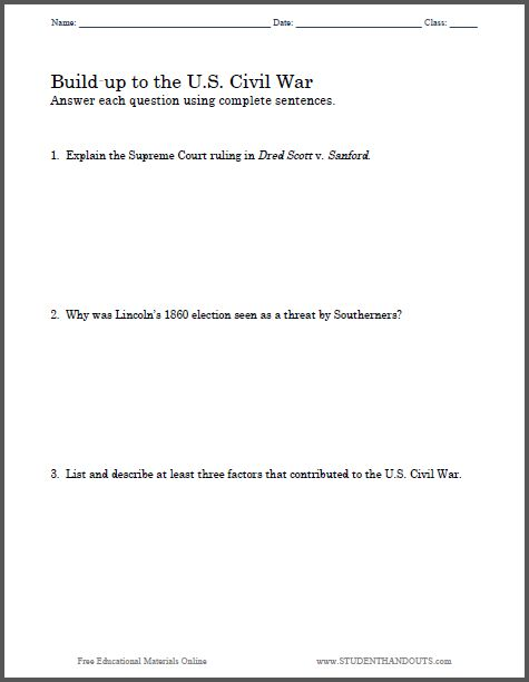 essay questions  civil wars and war on pinterestbuild up to the u s  civil war essay questions   free to print  pdf