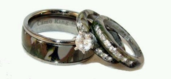 camo wedding ring set his and hers together rings i