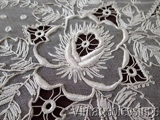 "Large Antique French Net & Tambour Embroidered Roses Lace Coverlet 104"" x 83"" www.Vintageblessings.com"