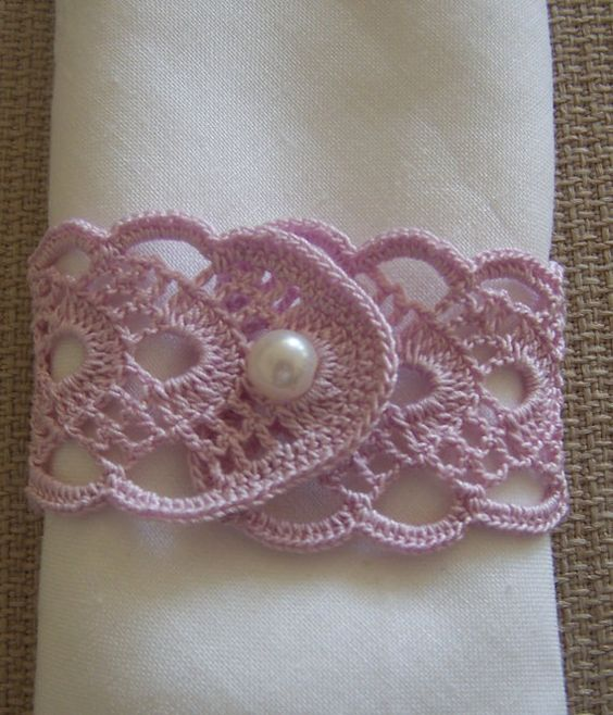 crochet napkin rings 2 pieces lilac by mehves1979 on Etsy:
