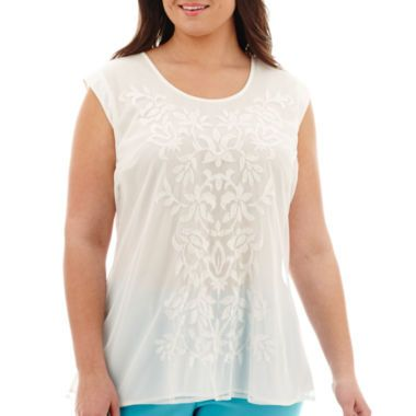 Worthington® Short-Sleeve Embroidered Mesh-Trim Top - Plus  found at @JCPenney
