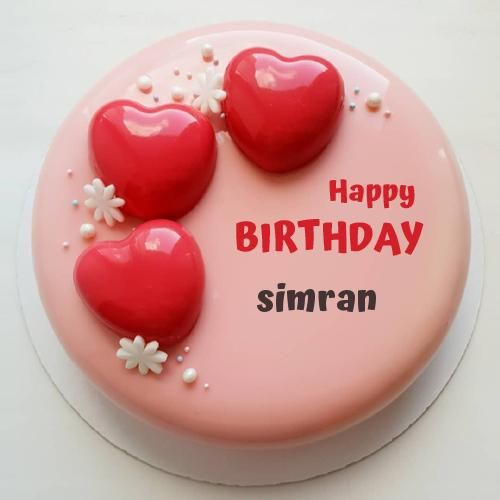 Write Name On Romantic Birthday Cake With Red Heartss With Images