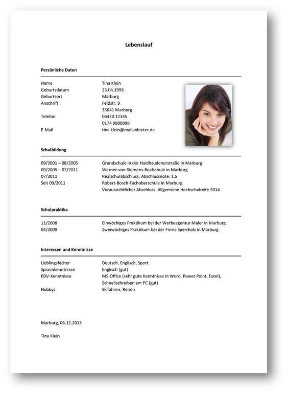 Tabellarischer Lebenslauf Beispiel 2 | Bewerbung | Pinterest