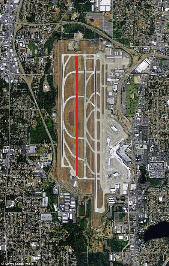 Passenger Plane Lands On The Taxiway At Seattle Airport With