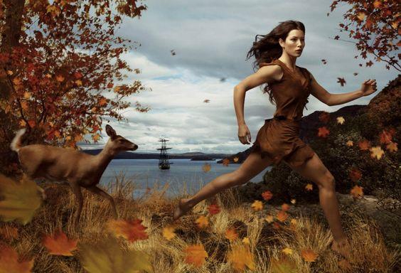 "Photography - Annie Leibovitz Disney Dream Portraits | Jessica Biel as Pocahontas from ""Disney Dream Portrait Series"""