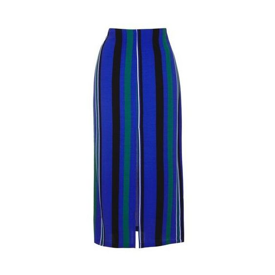 TopShop Stripe Split Maxi Skirt ($20) ❤ liked on Polyvore featuring skirts, blue, blue striped maxi skirt, striped skirts, long striped skirt, rayon maxi skirt and blue jersey