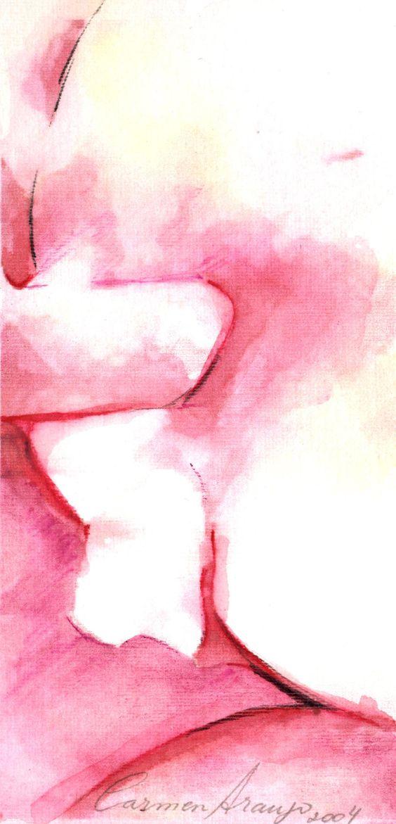 """""""Nus 8"""" - Aquarela e lápis-de-cor. Projeto """"Delta Z"""". Setembro 2004. Arte Erótica."""