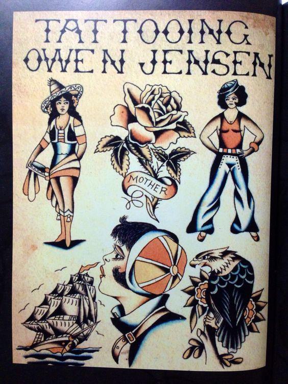 Owen Jensen. Tattoo flash from the 50's.