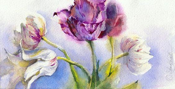 Pintura acuarela de tulipán flores acuarela por OlgaSternyk