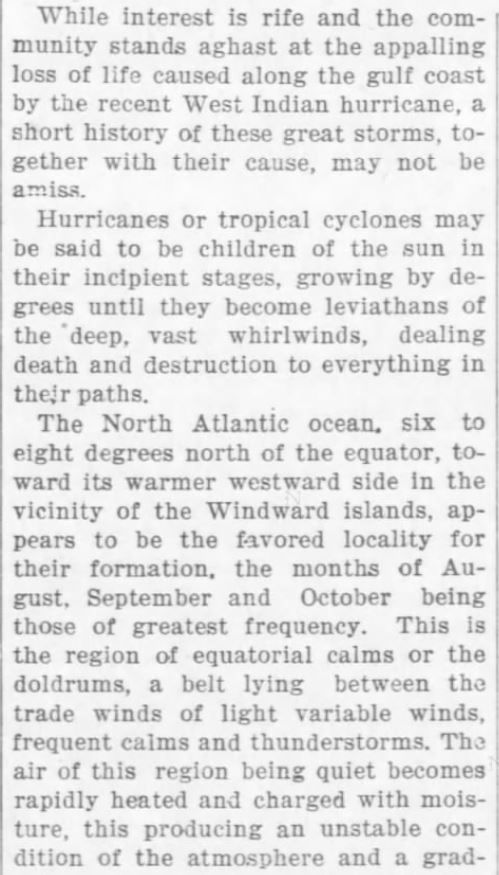 Cause of Hurricanes, Part 1 of 3. The Weekly Star and Kansan of Independence, Kansas, on September 21, 1900  | Great Hurricane, Galveston, TX (September 8, 1900) | KristinHolt.com