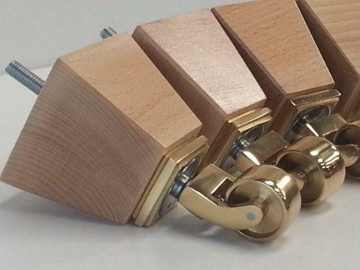 4x Pieds de meubles en bois naturel/Canapé Pieds avec roulettes en laiton, chaises, Canapés, repose-pieds M8(8mm)