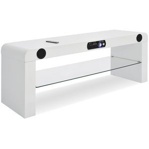 SOUND Meuble TV multimédia, 1 tablette, bois, blanc