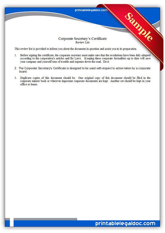 Free Printable Corporate Secretarys Certificate – Corporate Certificate Template