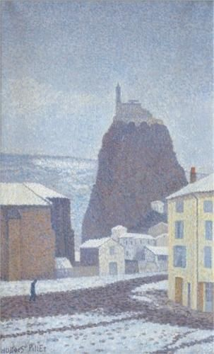Saint-Michel d'Aiguilhe (Haute-Loire) Under Snow - Pointillism - Albert Dubois-Pillet (French: 1846- 1890)