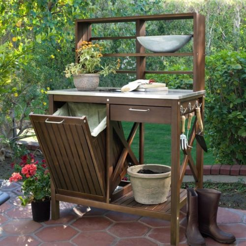 Potting Table Bench Outdoor Garden Backyard Wood Shelves Work Storage Station Outdoor Potting Bench Potting Bench Potting Table