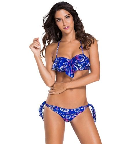 Colorful Printed Bikini Set with Underwire Padded Top & Fringe Sides Bottom