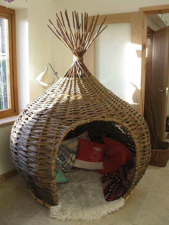 Onion shaped den or reading pod in woven willow