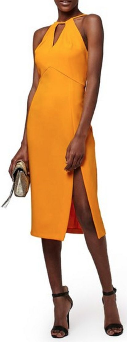 Marigold Midi-Shift Dress with Keyhole Neckline