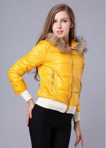 Hot Sale Yellow Zipper Fly Short Winter Coat with cheap wholesale price, buy Hot Sale Yellow Zipper Fly Short Winter Coat at wholesaleitonline.com !