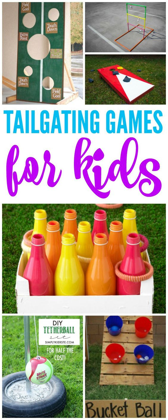 Tailgate Games for Kids! In the yard, before the game, activities and DIY Games…