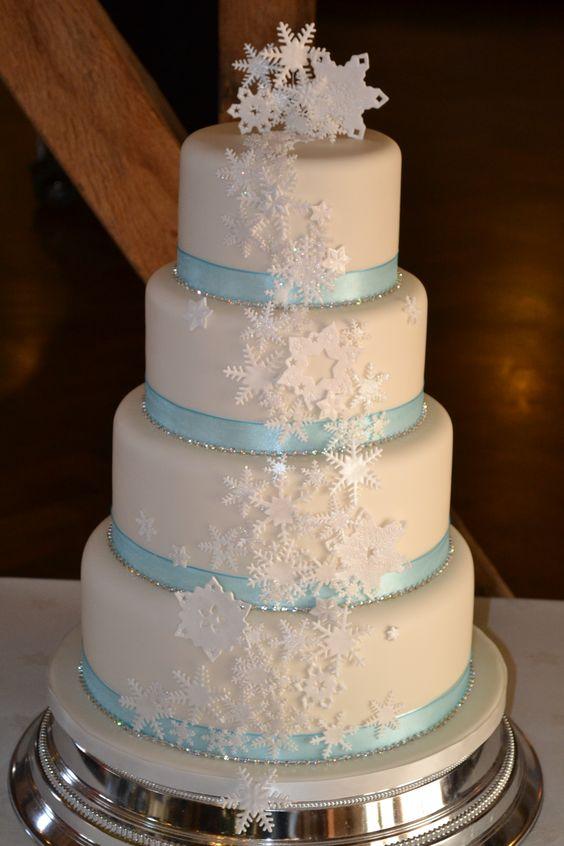 Cascading snowfake wedding cake, ice blue diamante www.wonderland-bakery.co.uk