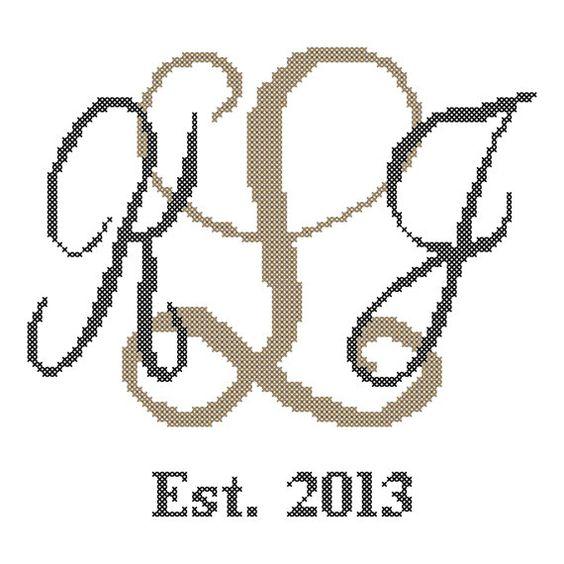 Formal Script Interlocking Monogram Cross by oneofakindbabydesign, $6.95