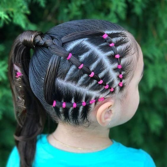 Hairstyles For Children With Elastic Bands Of Different Color Trends Of 2018 Girl Hairstyles Hair Styles Little Girl Hairstyles