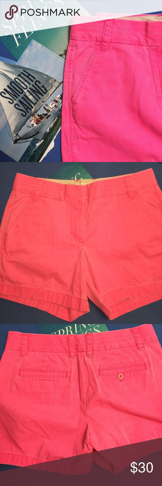 """J. Crew Neon Broken-in Chinos Short NWOT It's always warm and sunny somewhere, so everyone's favorite classic chino short is back in a slew of bright colors. 100cotton side and back pockets 13ins long City fit lowest rise. Sits just above hip. 5"""" inseam. Hot Pink.  Very cute  J. Crew Shorts Skorts"""
