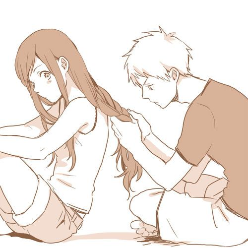 cute anime couple boy sitting behind girl and setting her long hairs romantic adorable love sweet lovely