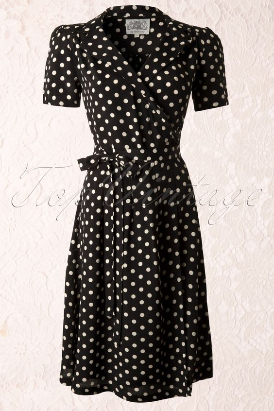 The Seamstress of Bloomsbury - 40s Peggy Wrapover Dress in Black and White