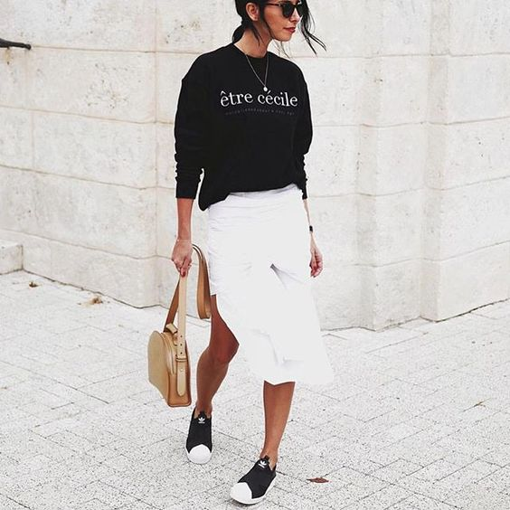 Sport luxe style nailed via @andicsinger Steal her sneaker style and shop the JUST LANDED adidas Originals Superstar Slip On now at Stylerunner.com #stylerunner #stylesquad