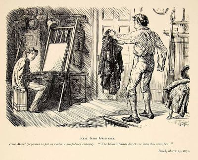 Charles Keene's cartoons about artists. Charles Keene (1823-1891) was a cartoonist for the British humor magazine Punch. His incisive characterization was admired by Edgar Degas and Adolph Menzel. Many of his cartoons poke fun at problems faced by artists. Some are universal problems, and some are peculiar to Victorian society. An Irish model objects to wearing a dilapidated costume. Gurney Journey: