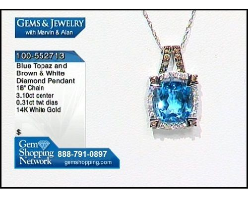 Topaz pendant with brown and white diamond accents