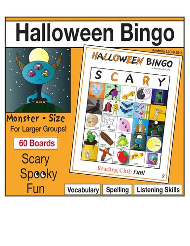 HALLOWEEN BINGO FUN -This Monster-size high-quality bingo game offers a fun, active way to foster spelling, vocabulary, and listening skills. Includes:  • 60 different playing boards  • 50 calling cards with illustrations, vocabulary words and the letter of the column they are in  • Quick Look Key – laminate and mark off to keep track of what cards were called. Helps to quickly verify winners.  • BONUS: Free Halloween word search puzzle to warm kids up on the vocabulary