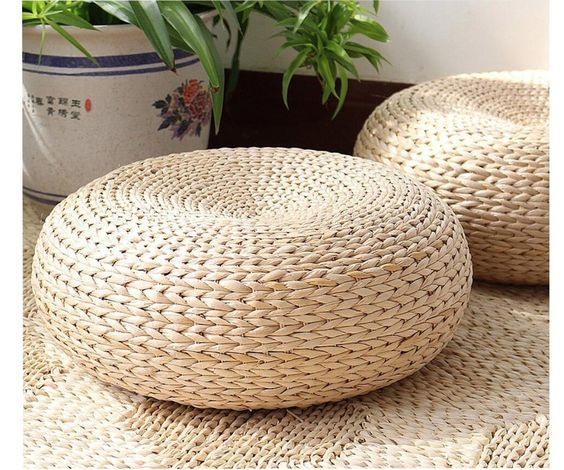 Asian footstool with cushion