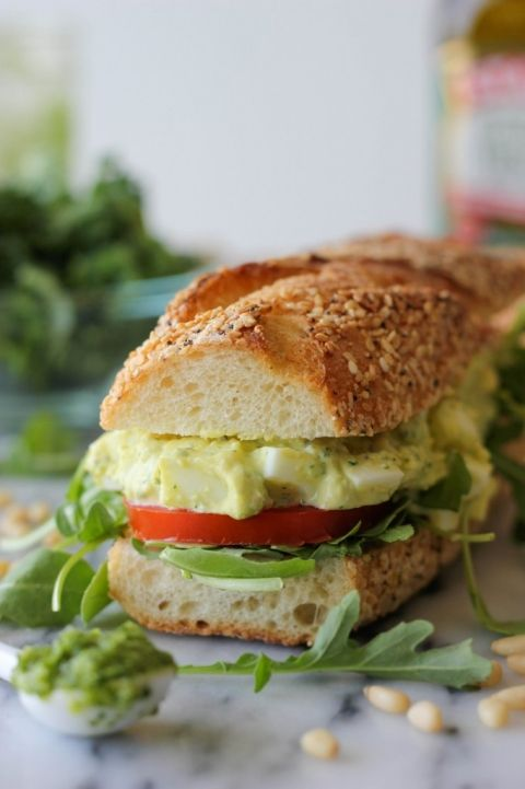 Kale+Pesto+Egg+Salad+-+The+addition+of+kale+pesto+in+this+egg+salad+is+a+wonderful,+healthy+twist+to+the+traditional+version!