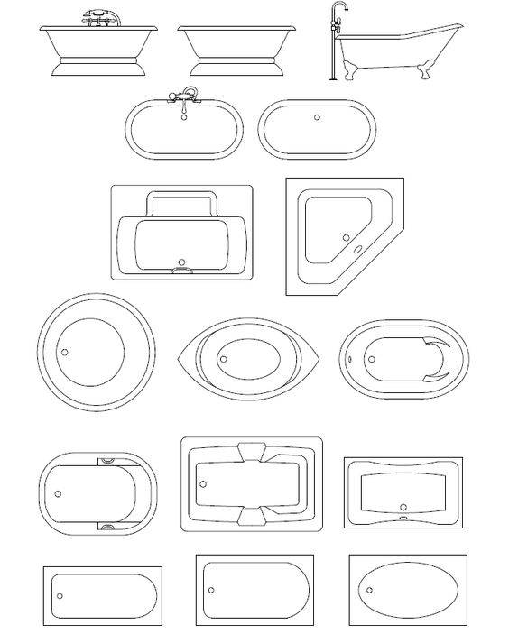 Cad Symbol Spa Baths And Symbols On Pinterest