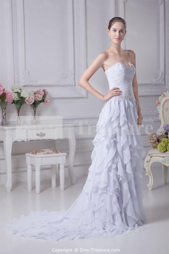Beautiful White Sleeveless Outdoor/ Garden Chiffon Zipper-back A-line Wedding DressWholesale Price: US$197.99