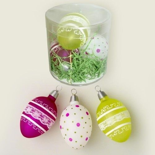 Easter eggs decorated green/rose/white 7 cm 3 pcs./tube - Christmas ornaments 2015, christmas balls 2015, christmas baubles 2015 Online shop Krebs Glas Lauscha