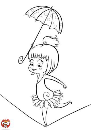 Coloriage funambule cirque pinterest - Dessin de cirque ...