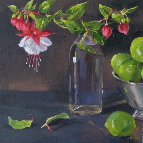 """Fuchsia Cuttings floral oil painitng original still life flowers and limes"" - Original Fine Art for Sale - © Sarah Sedwick"