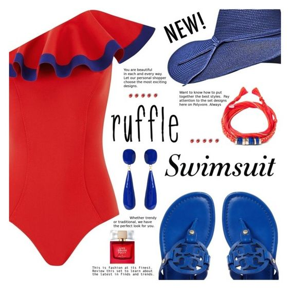 """The Ruffle"" by gabrilungu ❤ liked on Polyvore featuring Lisa Marie Fernandez, Amrita Singh, Aurélie Bidermann, Kate Spade and ruffledswimwear"