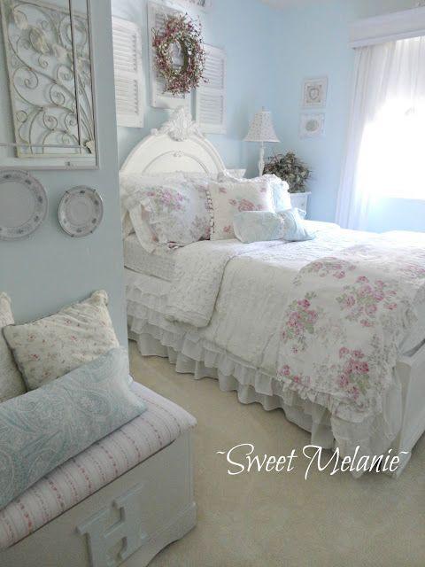 wonderful feminine chic bedroom ideas   .Beautiful! Cool, feminine, roses, white, blue, all things ...