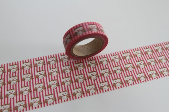 Masking Tape EULE Owl rosa pink von washitapes auf DaWanda.com