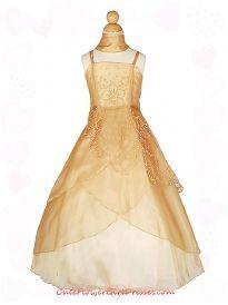 Gold Organza A-line Floral Flower Girl Dress