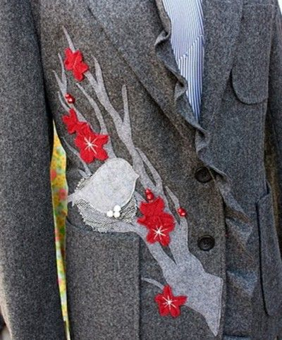 Great idea to put on my wool coat - upcycle, repurpose it with this beautiful branch w/bird.