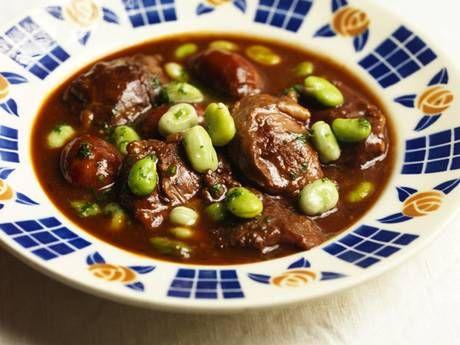 Braised pork cheeks and chorizo with porto branco and broad beans