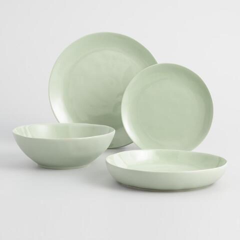 Light Sage Element Dinnerware Collection Green Dinnerware Dinnerware Green Dinner Plates